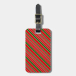 Red and Green Christmas Stripes Luggage Tag