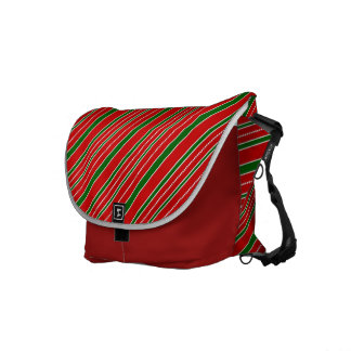 Red and Green Christmas Stripes Messenger Bags
