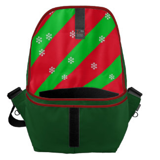 Red and Green Christmas Stripes With Snowflakes Courier Bag