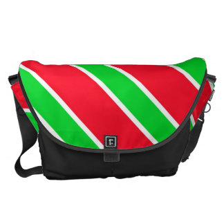 Red and Green Christmas Stripes With Snowflakes Messenger Bag