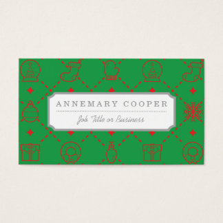 Red and Green Christmas Symbols Seamless Pattern Business Card