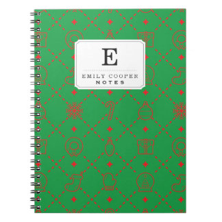 Red and Green Christmas Symbols Seamless Pattern Notebook