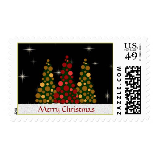 Red and Green Christmas Tree Posta... - Customized Postage Stamps