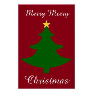 Red and Green Christmas Tree Poster