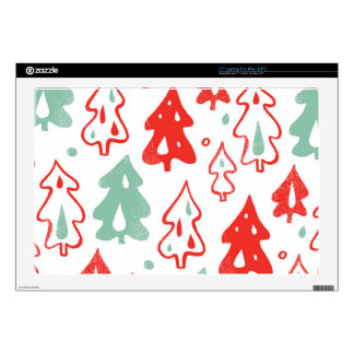 Red and Green Christmas Trees Pine Pattern Laptop Skins