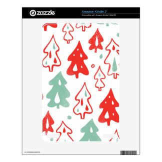 Red and Green Christmas Trees Pine Pattern Kindle Decal