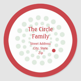 Red and Green Circle Address Label Stickers