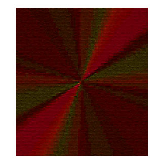 Red and Green Circular Patchwork Array Poster