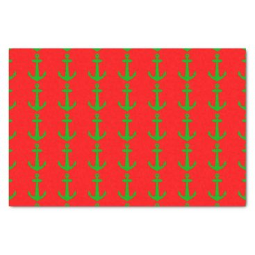 Christmas Themed Red And Green Coastal Christmas Decor Anchor Tissue Paper