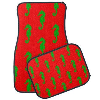 Red And Green Coastal Christmas Seahorse Pattern Car Floor Mat