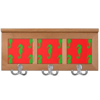 Red And Green Coastal Christmas Seahorse Pattern Coat Rack