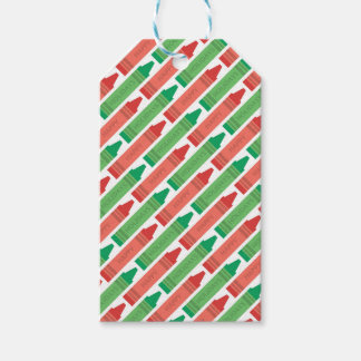 Red and Green Color Crayons Holiday Gift Tags