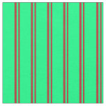 [ Thumbnail: Red and Green Colored Lined/Striped Pattern Fabric ]