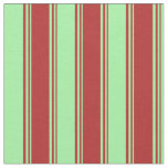 [ Thumbnail: Red and Green Colored Stripes/Lines Pattern Fabric ]