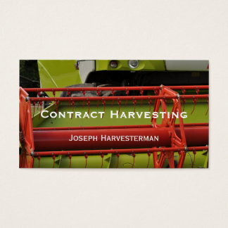 Red and green combine Harvester close-up Business Card