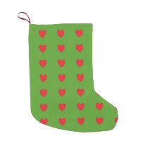 Red And Green  Cool Hearts Christmas Stocking