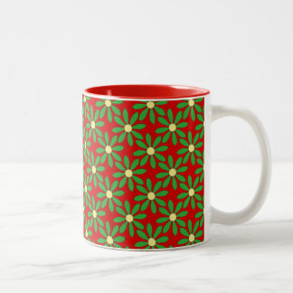 Red and Green Daisies Floral Pattern Two-Tone Coffee Mug