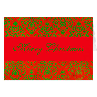 Red and Green Damask Cards