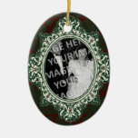 Red and Green Damask Oval Frame First Christmas Double-Sided Oval Ceramic Christmas Ornament