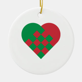 Red and Green Danish Heart Ceramic Ornament