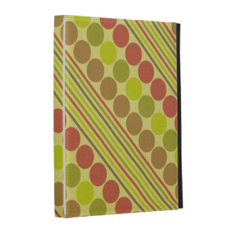 Red and Green Diagonal Lines Circles iPad Case
