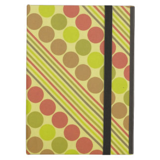 Red and Green Diagonal Lines Circles iPad Folio Cases