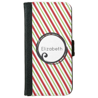 Red And Green Diagonal Striped Christmas Pattern iPhone 6/6s Wallet Case