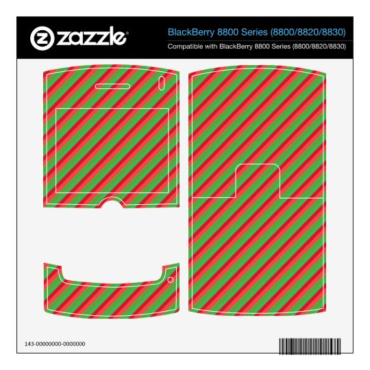 Red and Green Diagonal Stripes BlackBerry Decals