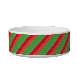 Red and Green Diagonal Stripes Bowl