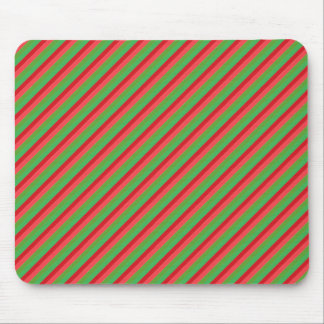 Red and Green Diagonal Stripes Mouse Pads