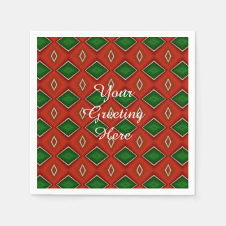 Red and Green Diamond Pattern Holiday Napkins Paper Napkin