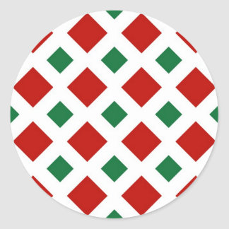 Red and Green Diamonds on White Classic Round Sticker