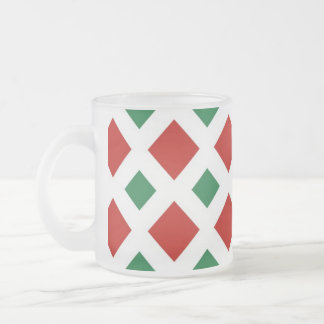 Red and Green Diamonds on White Frosted Glass Coffee Mug