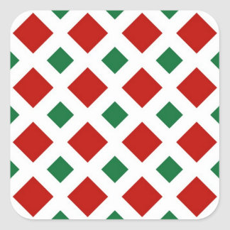 Red and Green Diamonds on White Square Sticker