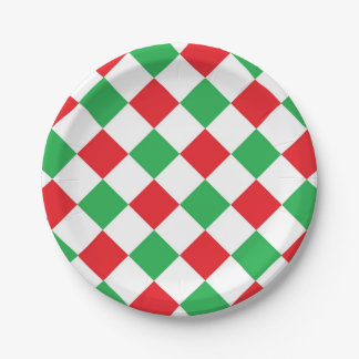Red and Green Diamonds Paper Plates 7 Inch Paper Plate