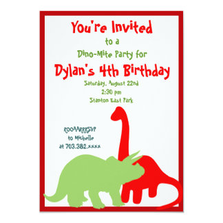 "Red and Green Dinosaur Birthday Party Invitations 5"" X 7"" Invitation Card"
