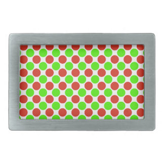 Red and Green Dots on White Rectangular Belt Buckles