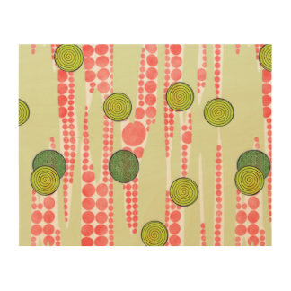 Red and Green Dots Wood Wall Art