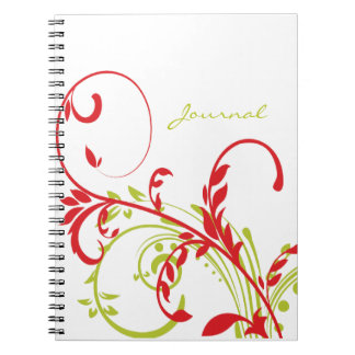 Red and Green Double Floral Note Book