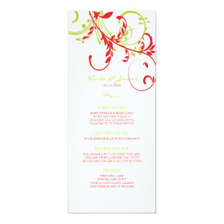 Red and Green Double Floral Wedding Menu Invitations