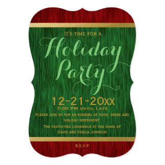 Red and Green Elegant Holiday Party Invitation