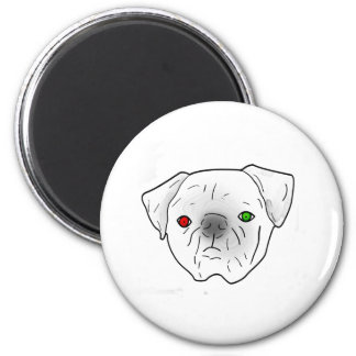 red and green eyed pug fridge magnet