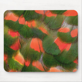 Red And Green Feather Pattern Mouse Pad