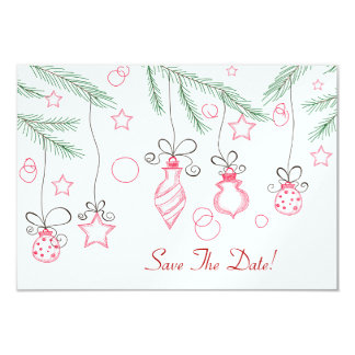 Red and Green Festive Ornaments Save The Date Card