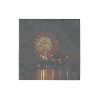 red and green fireworks explode over Mississippi Stone Magnet