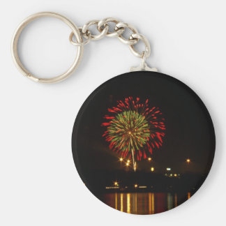 red and green fireworks explode over Mississippi Keychain