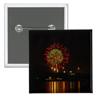 red and green fireworks explode over Mississippi Pinback Button