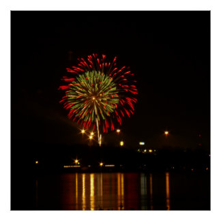 red and green fireworks explode over Mississippi Print