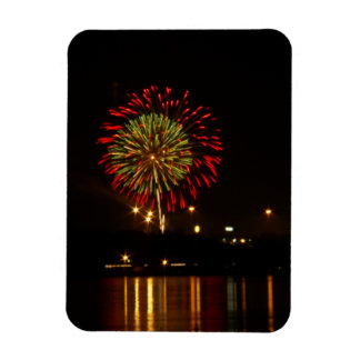 red and green fireworks explode over Mississippi Vinyl Magnet