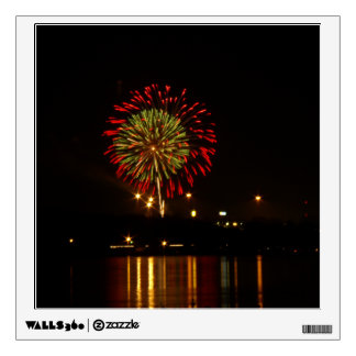 red and green fireworks explode over Mississippi Wall Decal